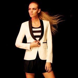 SMYTHE • EXCLUSIVE Satin Lapel Linen Blazer Jacket